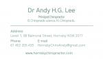 혼스비 카이로프랙터 – Dr 이효근 (Andy)